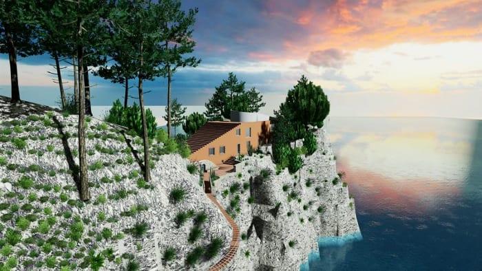 Capri, Capo Masullo – Villa Malaparte – render realizado com Edificius