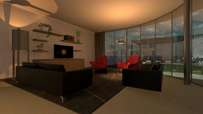 Casa Kwantes, obra do escritório MVRDV – render espaços internos realizado com o software Edificius