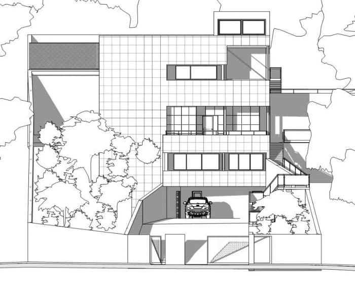 Desenho casa unifamiliar de dos pisos – elevação anterior – software BIM Edificius