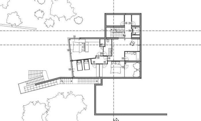 Desenho casas unifamiliares de dois pisos - planta primeiro piso - software BIM Edificius
