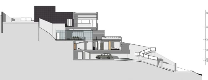 Desenho casas unifamiliares de dois pisos -seções C-C - software BIM Edificius
