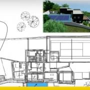 Projeto de casa unifamiliar de dois pisos com DWG para baixar