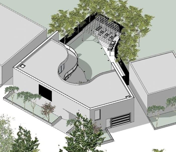casas unifamiliares arquitetos famosos kwantes axonometria