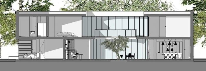 casas unifamiliares arquitetos famosos kwantes corte B-B
