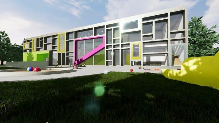 Fachada_projetos de escolas-Troplo-Kids_render_programa de arquitetura BIM_Edificius