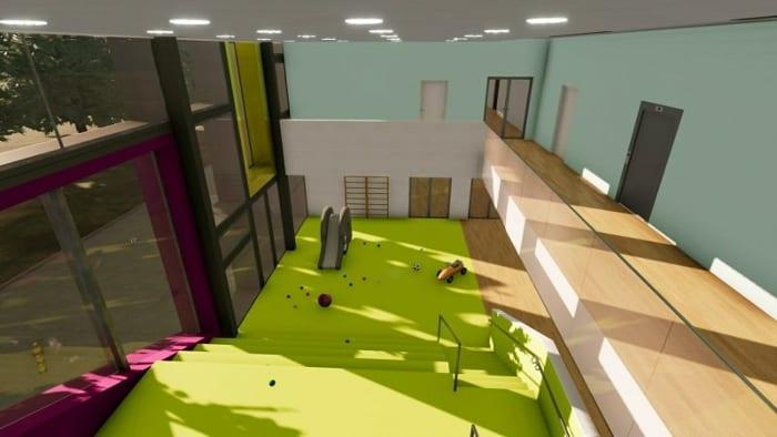 Galeria átrio_projetos de escolas-Troplo-Kids_render_programa de arquitetura BIM_Edificius
