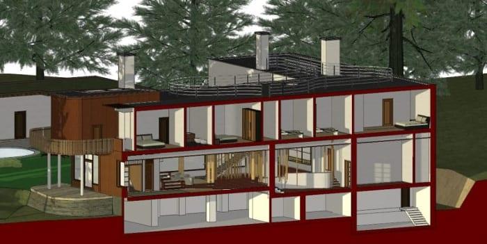 Villa-Mairea-Vista em corte-software-BIM-Edificius