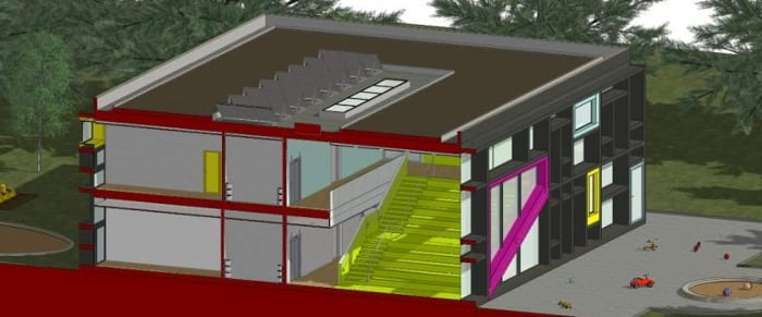 Vista em corte isométrica-02-Troplo-Kids_programa de arquitetura BIM_Edificius
