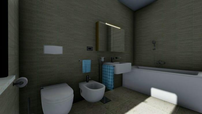 Esquemas de banheiros-Render-Edificius_programa de arquitetura BIM