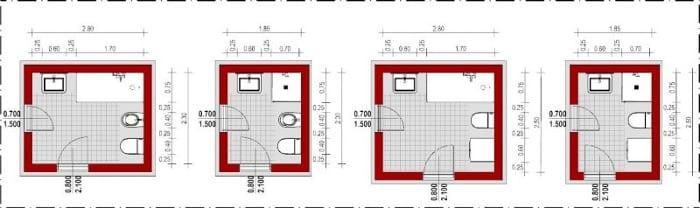 Esquemas de banheiros com instalações dispostas em ângulo_Edificius_programa de arquitetura BIM