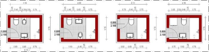 Esquemas de banheiros com instalações opostas_Edificius_programa de arquitetura BIM