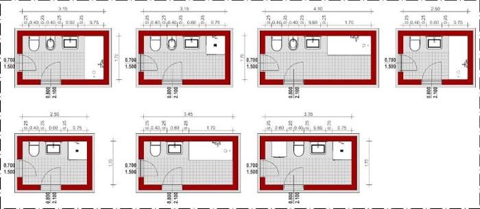 Esquemas de banheiros com instalações dispostas em linha reta_Edificius_programa de arquitetura BIM