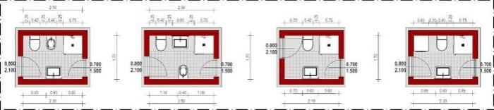Esquemas de banheiros com instalações opostas com janela_Edificius_programa de arquitetura BIM