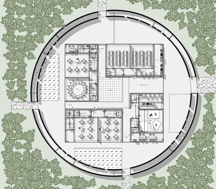 Projeto-centro-para a infância_Planta-piso térreo_Ponzano-Children_software-BIM-arquitetura-Edificius