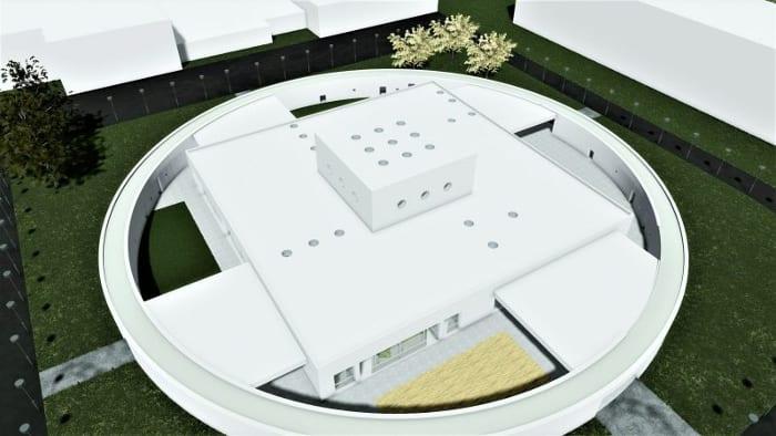 Projeto-centro-para a infância_vista aérea_render-software-BIM-arquitetura-Edificius