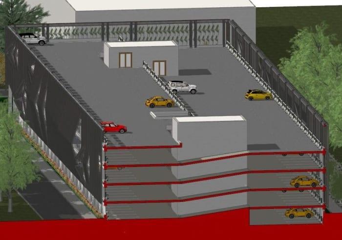 Vista em corte isométrica_Projeto-estacionamentos-DWG_software-BIM-arquitetura-Edificius
