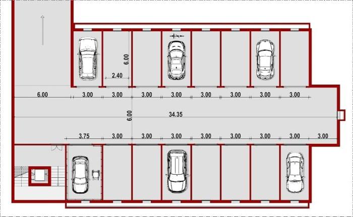 Garagem_Subterrânea_Planta_Como fazer projetos de garagem_programa de arquitetura BIM Edificius
