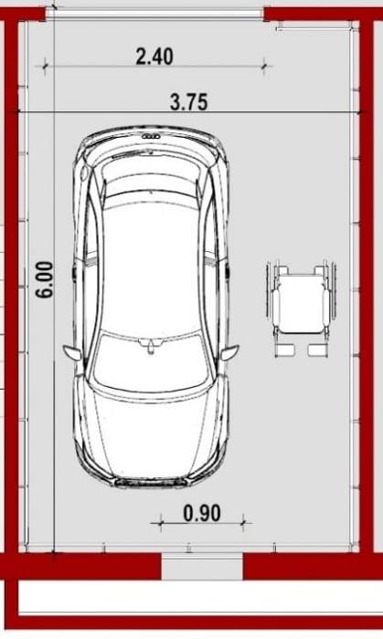 Módulo Deficientes_Planta_Como fazer projetos de garagem_programa de arquitetura BIM Edificius