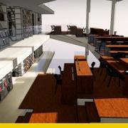 Projeto de biblioteca: arquitetura, linhas guias, esquemas e desenhos em formato dwg_Edificius