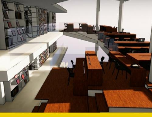 Projeto de biblioteca: arquitetura, linhas guias, esquemas e desenhos em formato dwg