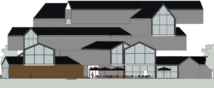 Projetar-museu-VitraHaus-elevação-oeste-programa de arquitetura BIM-Edificius