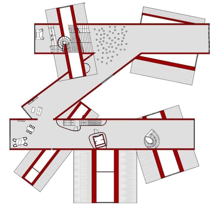 Projetar-museu-VitraHaus-planta-primeiro-andar-programa de arquitetura BIM-Edificius