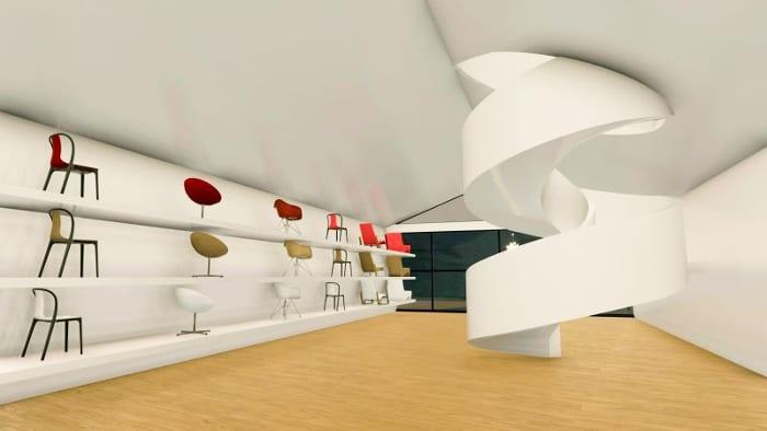 Projetar-museu-VitraHaus-render-escada-showroom-programa de arquitetura BIM-Edificius