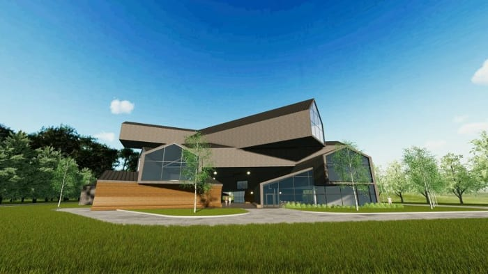 Projetar-museu-VitraHaus-render-fachada-sprograma de arquitetura BIM-Edificius