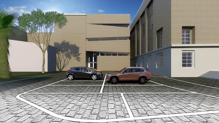 Render_área de estacionamento_projetar uma biblioteca_ programa de arquitetura BIM Edificius