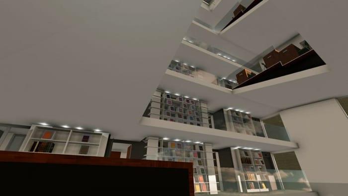 Render_vista panorâmica_projetar uma biblioteca_ programa de arquitetura BIM Edificius