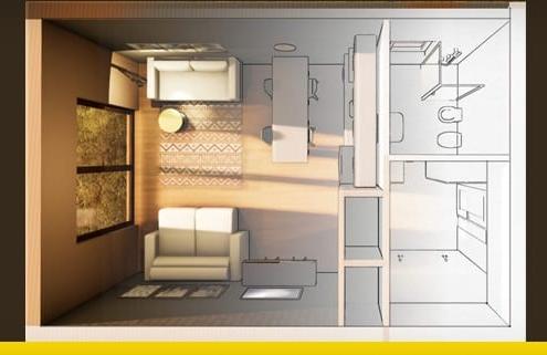 Arquitetura apartamento pequeno de 40 m²: critérios e exemplos para baixar_Edificius