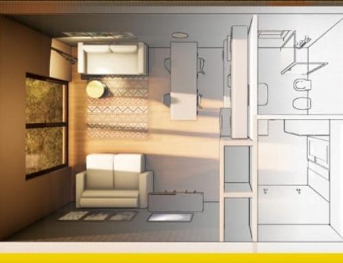 Arquitetura apartamento pequeno de 40 m²: critérios e exemplos para baixar