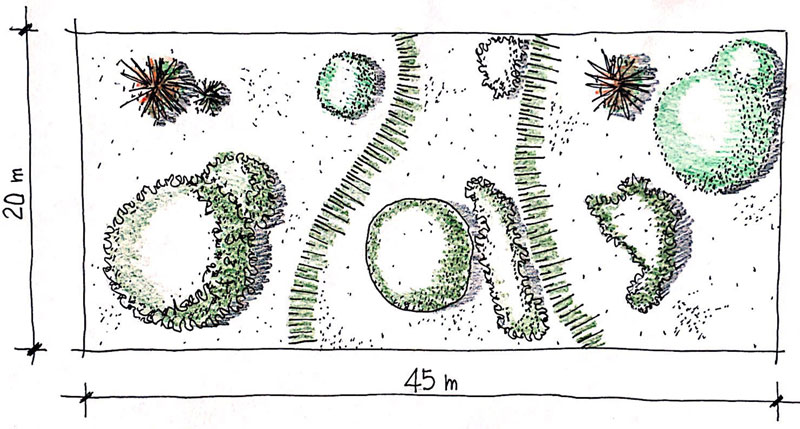Como desenhar um jardim Esboço situação atual