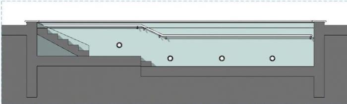 Projeto de piscina fisioterapêutica corte programa de arquitetura BIM Edificius