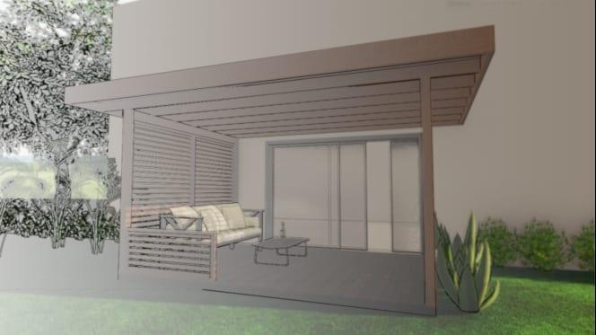 como desenhar um pergolado-telheiro-render-gráfico-programa de arquitetura BIM-Edificius