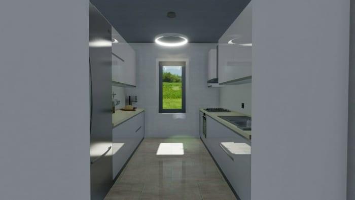 Cozinha de linha paralela render programa de arquitetura BIM Edificius