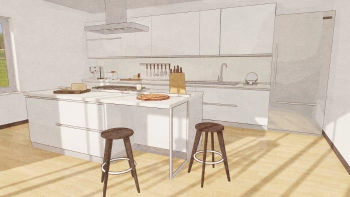 Desenho de cozinha__render_cozinha com ilha_programa de arquitetura BIM Edificius