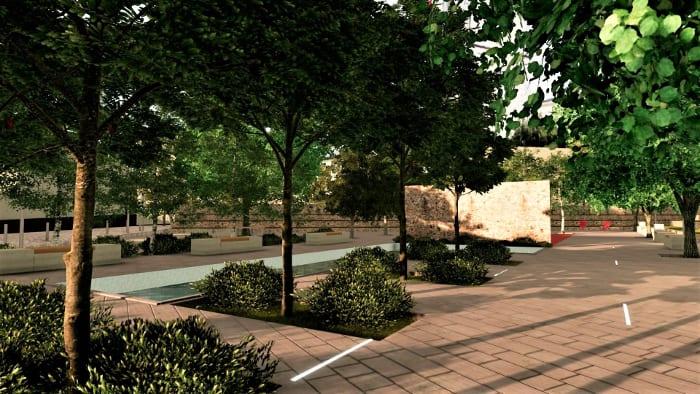 render-detalhe-área-de recreação mobiliário urbano programa de arquitetura BIM Edificius