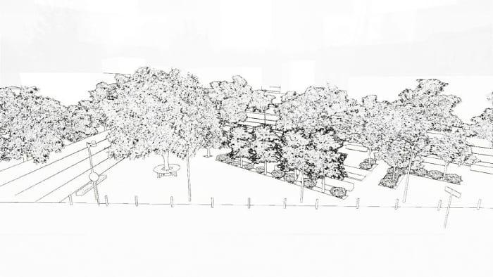 render-efeito-sketch-projeto de mobiliário urbano programa de arquitetura BIM Edificius