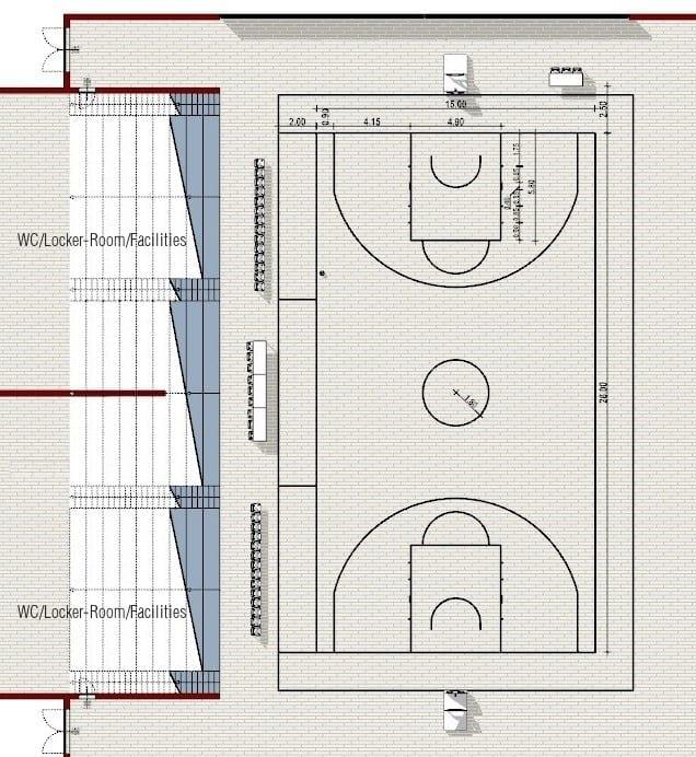 Planta-campo de basquetebol-Arquitetura esportiva campo de Futsal e campo de basquetebol