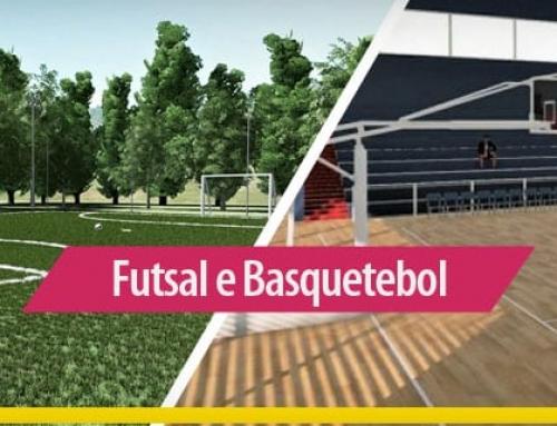 Arquitetura esportiva: quadra de futsal e quadra de basquetebol