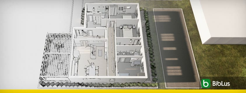 Desenho de Bed and Breakfast, o guia com arquivos dwg e modelo 3D BIM_Edificius