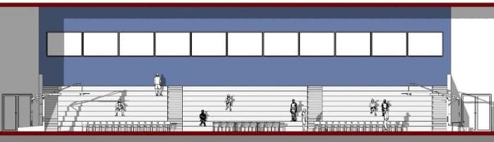 Projeto de campo de basquetebol-corte-b-b-programa de arquitetura-Edificius