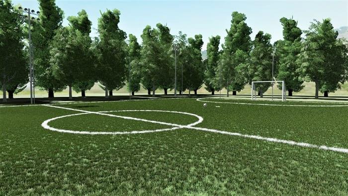 Render campo Futsal - Arquitetura esportiva campo de Futsal e campo de basquetebol