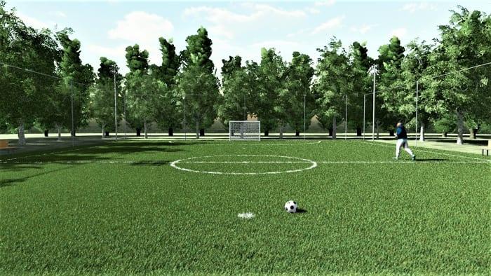 Render campo Futsal com cercas - Arquitetura esportiva campo de Futsal e campo de basquetebol