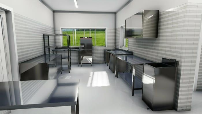 progettoprojeto de cozinha de restaurante-render-área-de limpeza-programa de arquitetura-bim-edificius