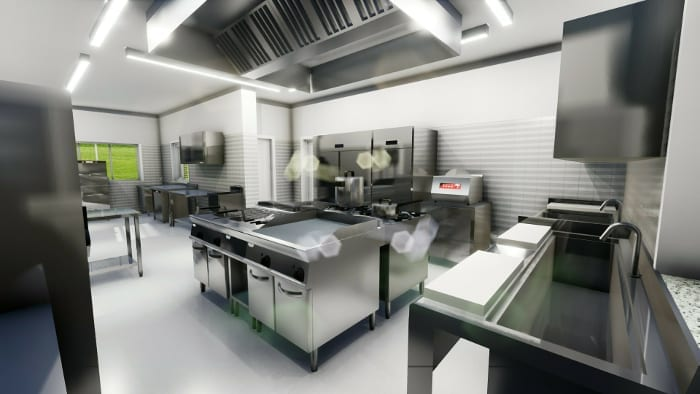 projeto de cozinha de restaurante-render-ilha-programa de arquitetura-bim-edificius