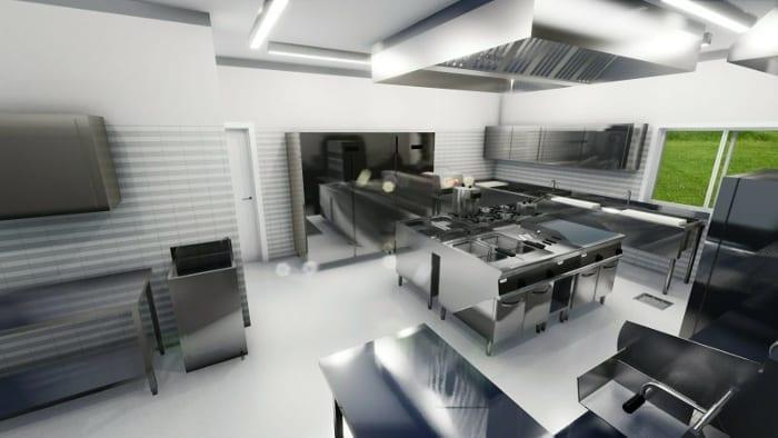 A imagem mostra um render do projeto de cozinha de um restaurante realizado com o software para projeto arquitetonico Edificius