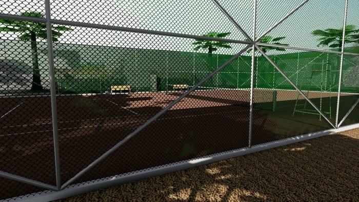Arquitetura esportiva projeto de quadra de tênis e vestiário-render-cerca-quadra de tênis_programa de arquitetura BIM-Edificius