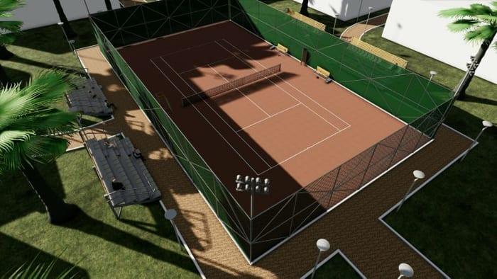 Arquitetura esportiva projeto de quadra de tênis e vestiário-render-vista-aérea-quadra de tênis_programa de arquitetura BIM-Edificius